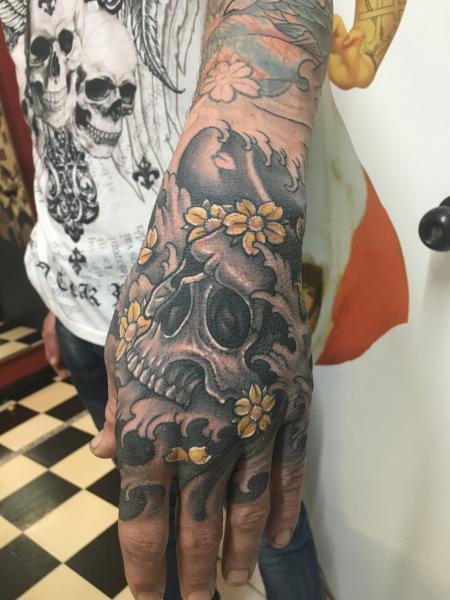 Skull hand